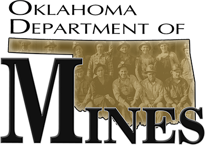 logo graphic with text: oklahoma department of mines.
